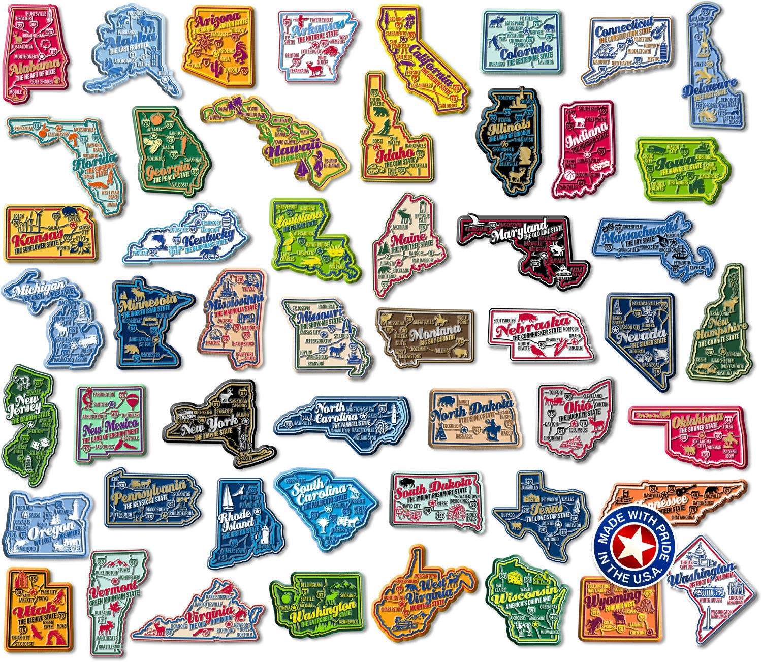 Complete Set of Premium State Map Magnets by Classic Magnets
