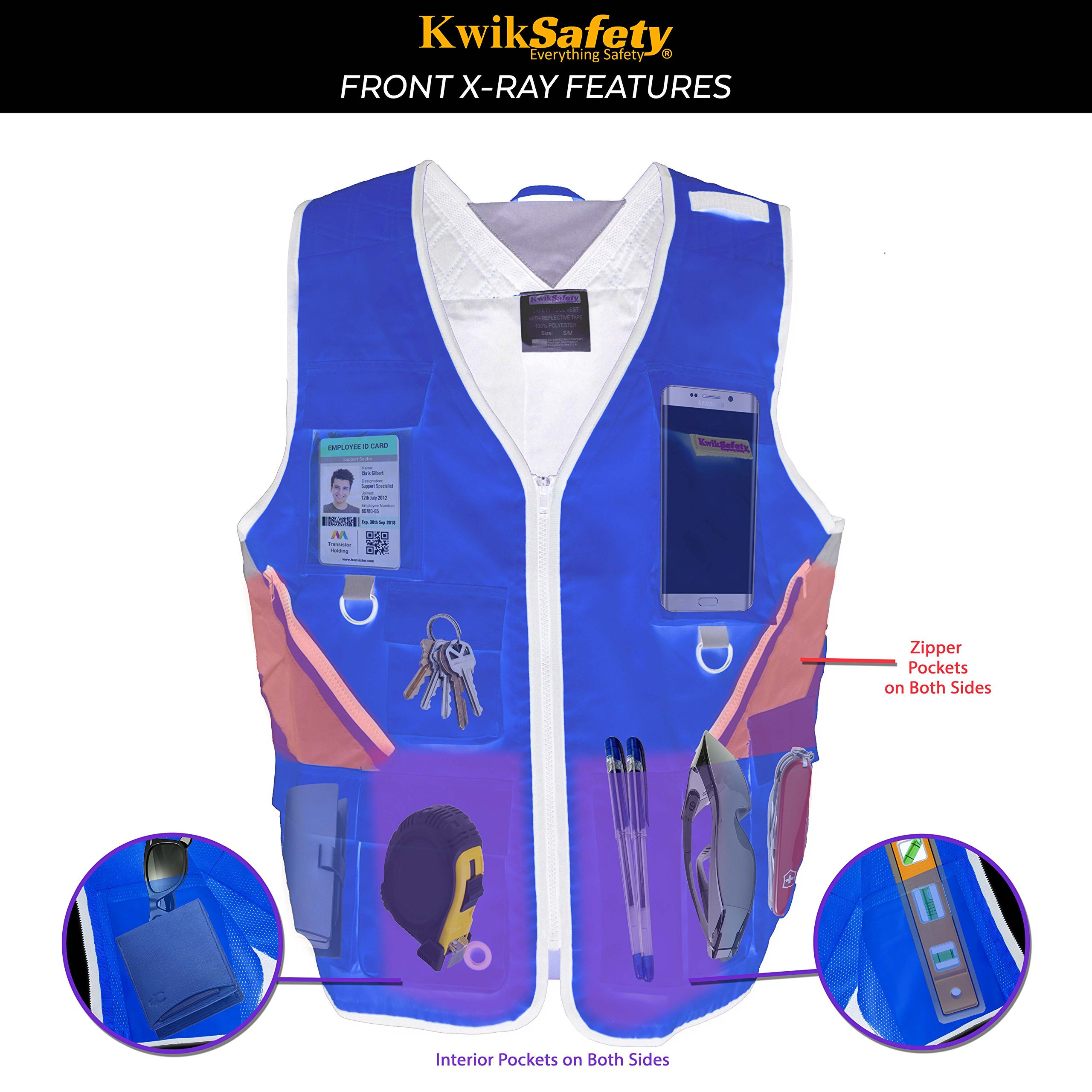 KwikSafety (Charlotte, NC) ARTISAN Tool Vest | Reflective Multi Pocket Lightweight Work Wear | Hi Vis Volunteer Emergency Crew Surveyor Carpenter Electrician Engineer | Men Women Regular | 4XL/5XL by KwikSafety (Image #8)