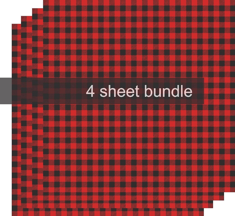 Buffalo Plaid Vinyl 4-12x12 Sheet Bundle Printed Vinyl Sheets Adhesive Red /& Black Plaid