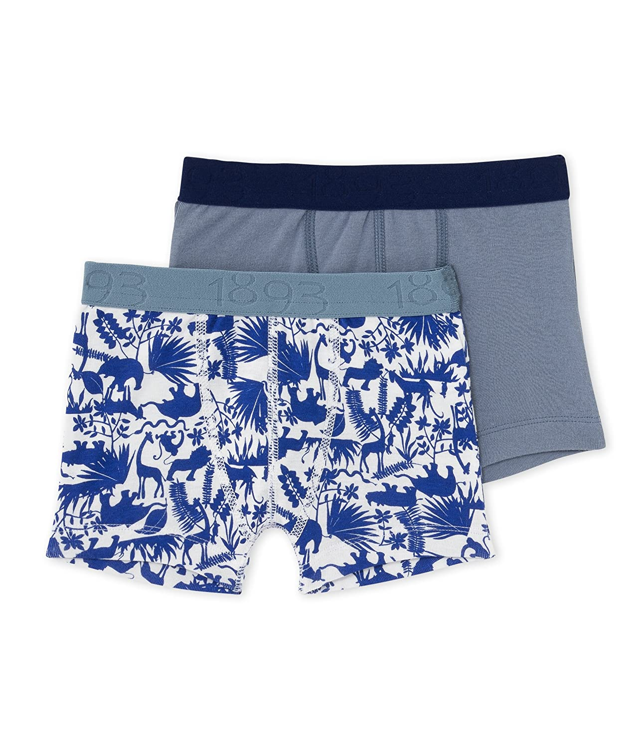 PETIT BATEAU BOYS 2 PK. BOXER SOLID GREY/NAVY PRINT STYLE 23745 SIZES 2-12