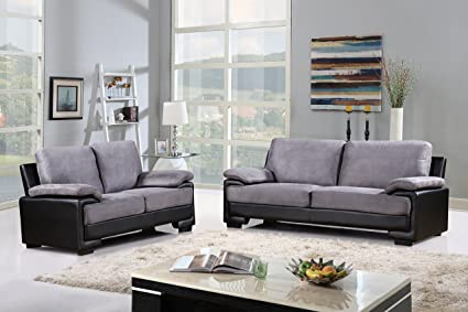 Modern Faux Leather And Brush Microfiber Sofa And Loveseat Living Room  Furniture Set (Black /