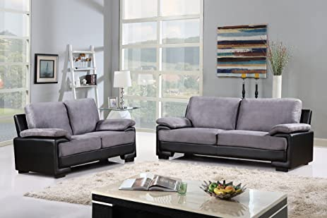 Amazon.com: Modern Faux Leather and Brush Microfiber Sofa and ...