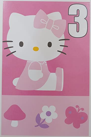 Amazon hello kitty happy 3rd birthday greeting card three hello kitty happy 3rd birthday greeting card three years old third m4hsunfo