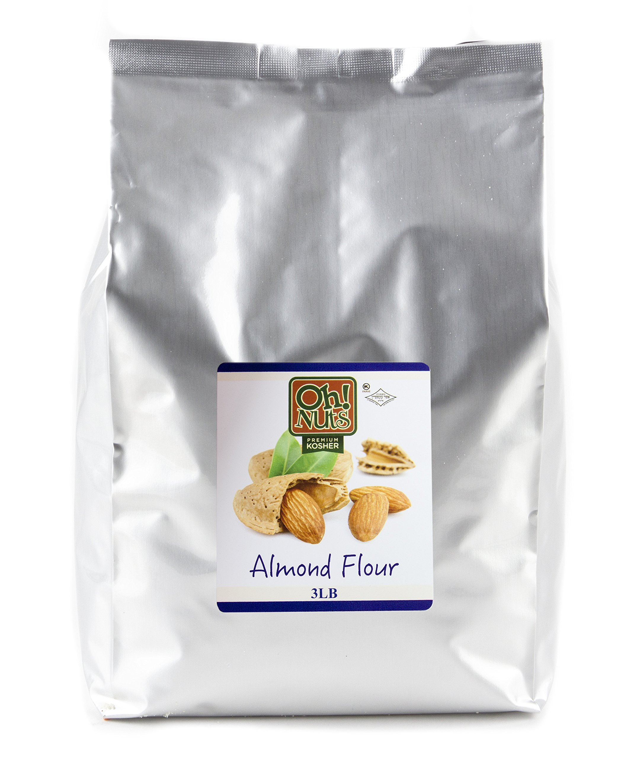 Almond Flour, UNBLANCHED Almonds Healthy Flour, Extra Fine Ground Almonds Meal - Oh! Nuts (3 LB Bag Natural Whole Almond Flour)