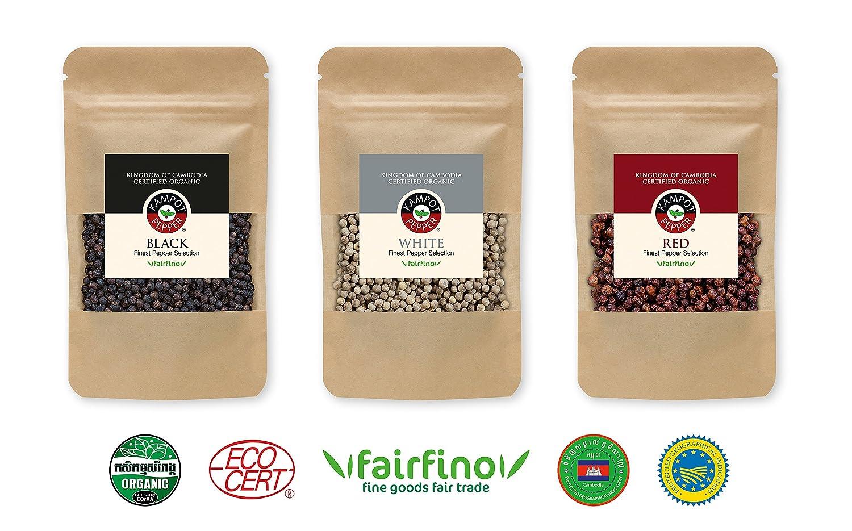 Set de Pimienta Kampot, calidad premium - 1 x 50g Pimienta negra Kampot - 1 x 50g Pimienta roja Kampot - 1 x 50g Pimienta blanca Kampot - producida y ...