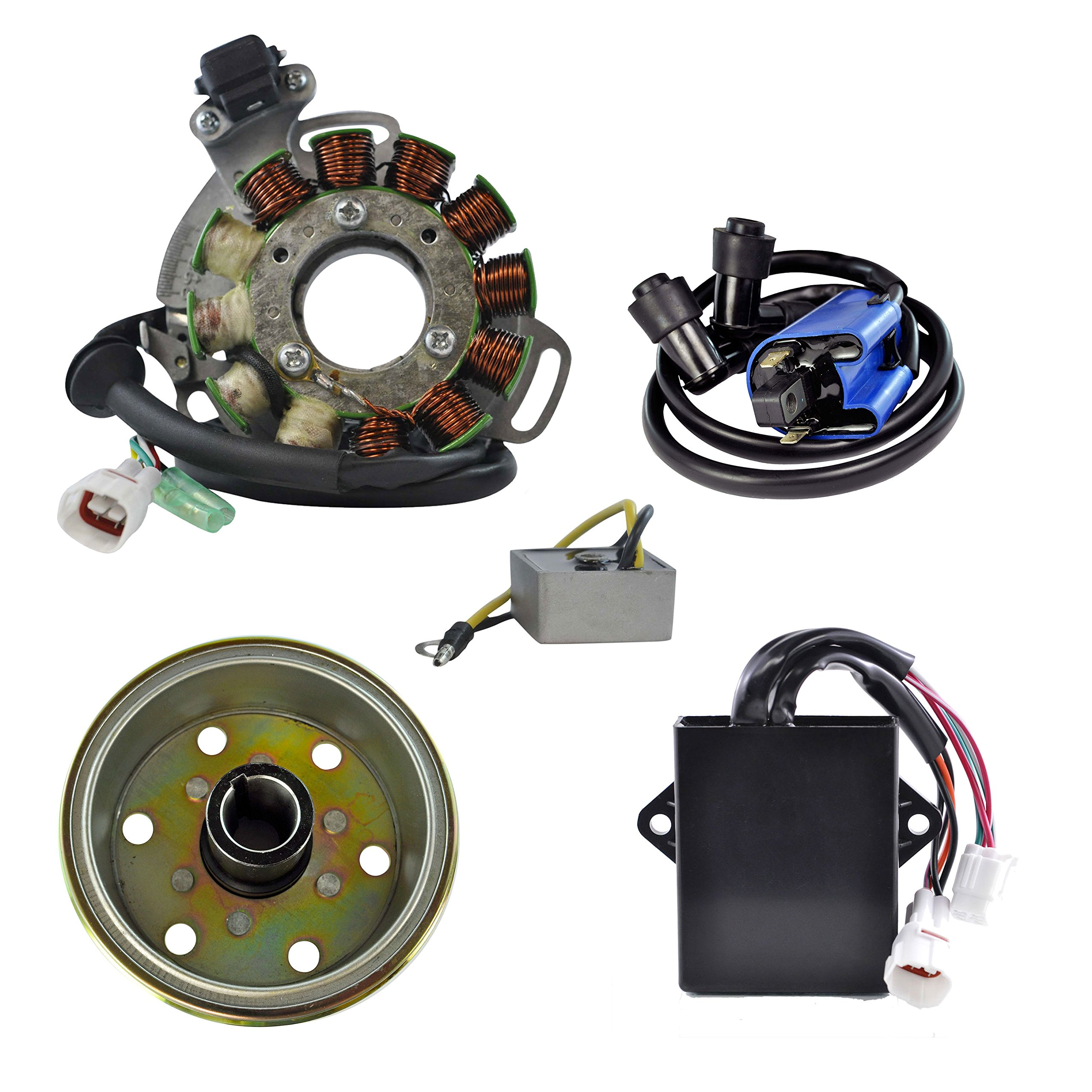 Kit High Output Stator 200 W + AC Regulator + HP CDI Box + Ignition Coil + Flywheel For Yamaha YFZ 350 Banshee 1995-1996