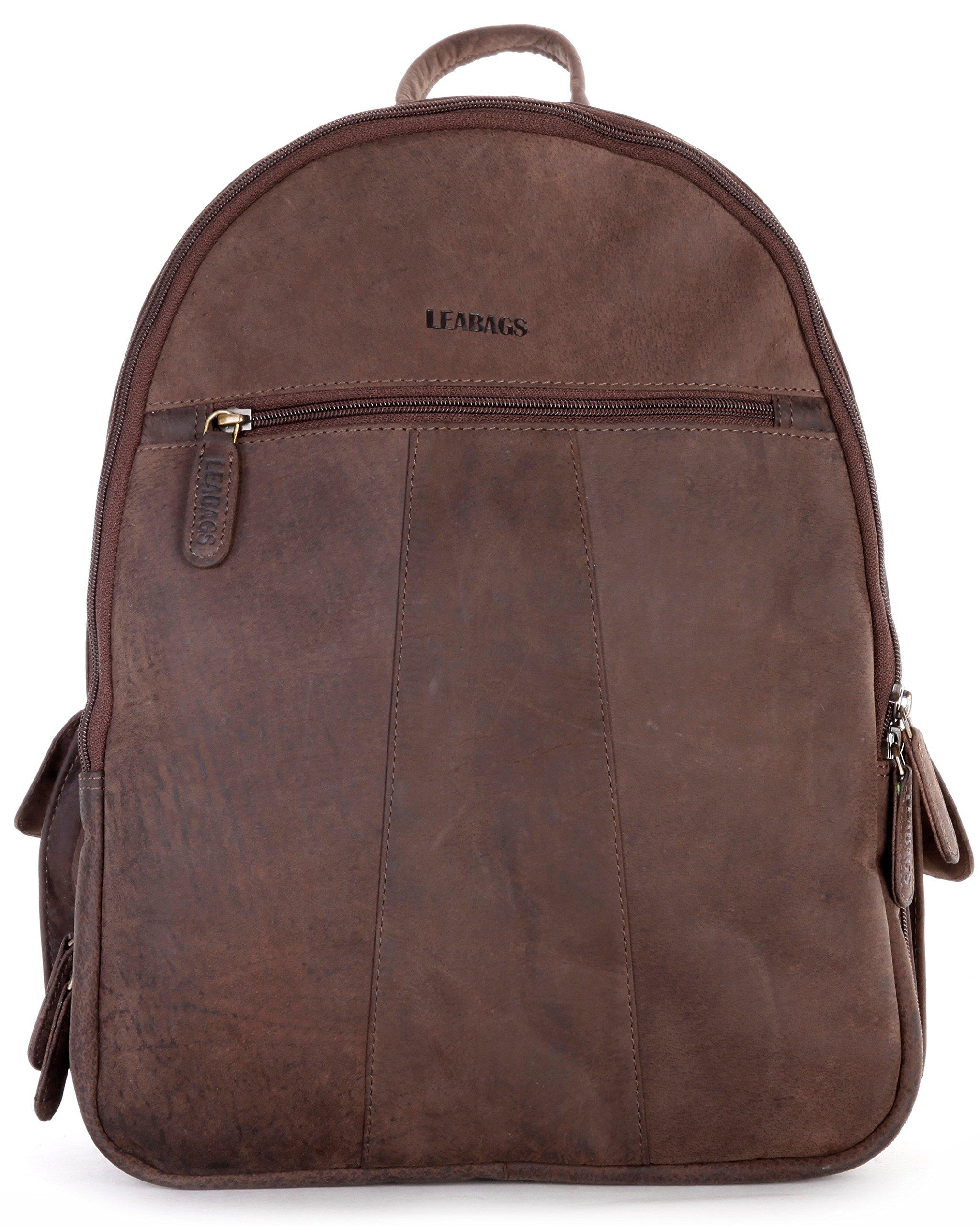 LEABAGS Newark genuine buffalo leather camera backpack in vintage style - Nutmeg