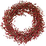 The Wreath Depot Ellsworth Winter Red Berry Wreath, 22 Inches