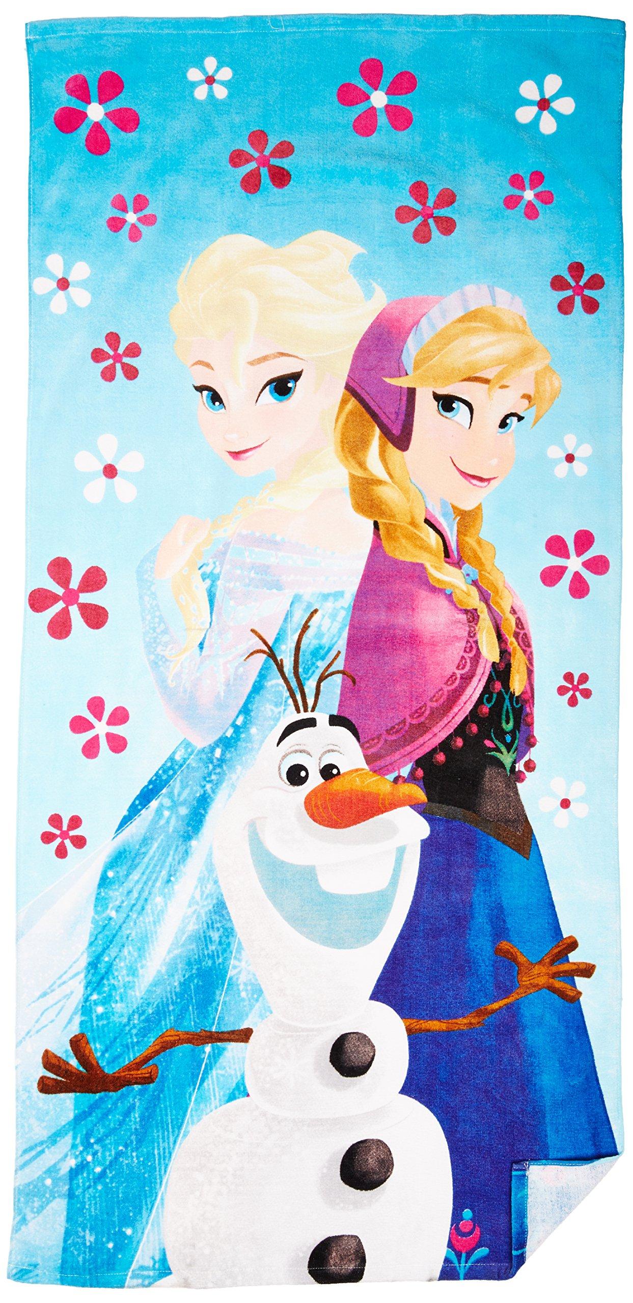 Disney Frozen Celebrate Summer Bath or Beach Cotton Towel. Anna, Elsa Olaf Print. Favorite Princess Characters from Hit Movie Frozen