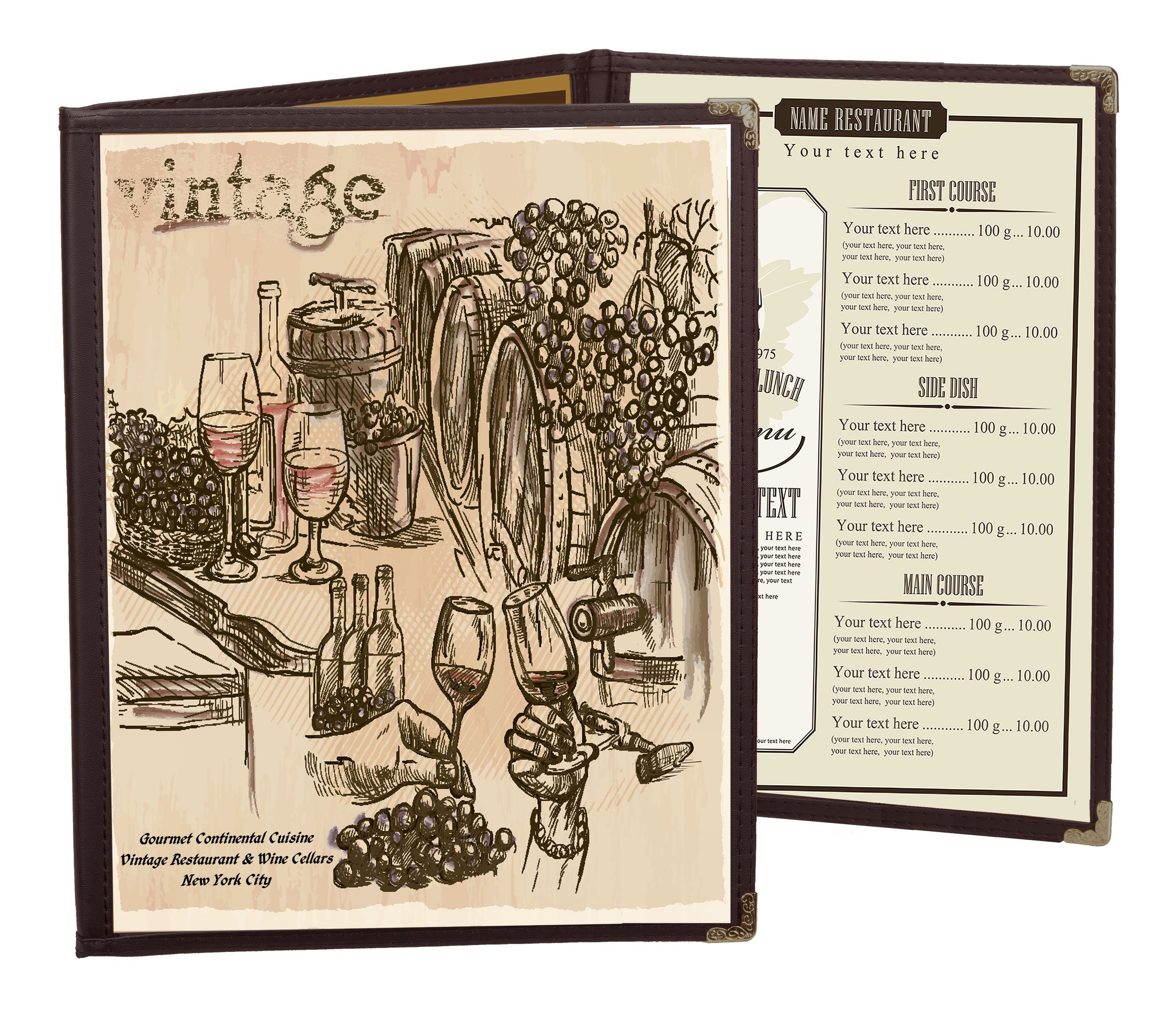 25 BETTER QUALITY Menu Covers #3106 BROWN TRIPLE PANEL FOLDOUT - 6-VIEW - 8.5'' WIDE x 11'' TALL - DOUBLE-STITCHED Leatherette Vinyl Edge. Gold corners. SEE MORE: Type MenuCoverMan in Amazon search.