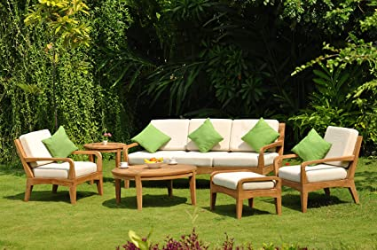 Noida 6 Piece Teak Lounge Sofa Set Sunbrella Fabric Cushions: Seat U0026 Back  Cushions For