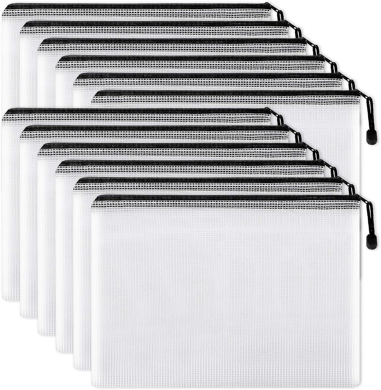 EOOUT 12pcs Mesh Zipper Pouch Document Bag, Plastic Zip File Folders, Letter Size, Black, for Office School Supplies, Travel Storage