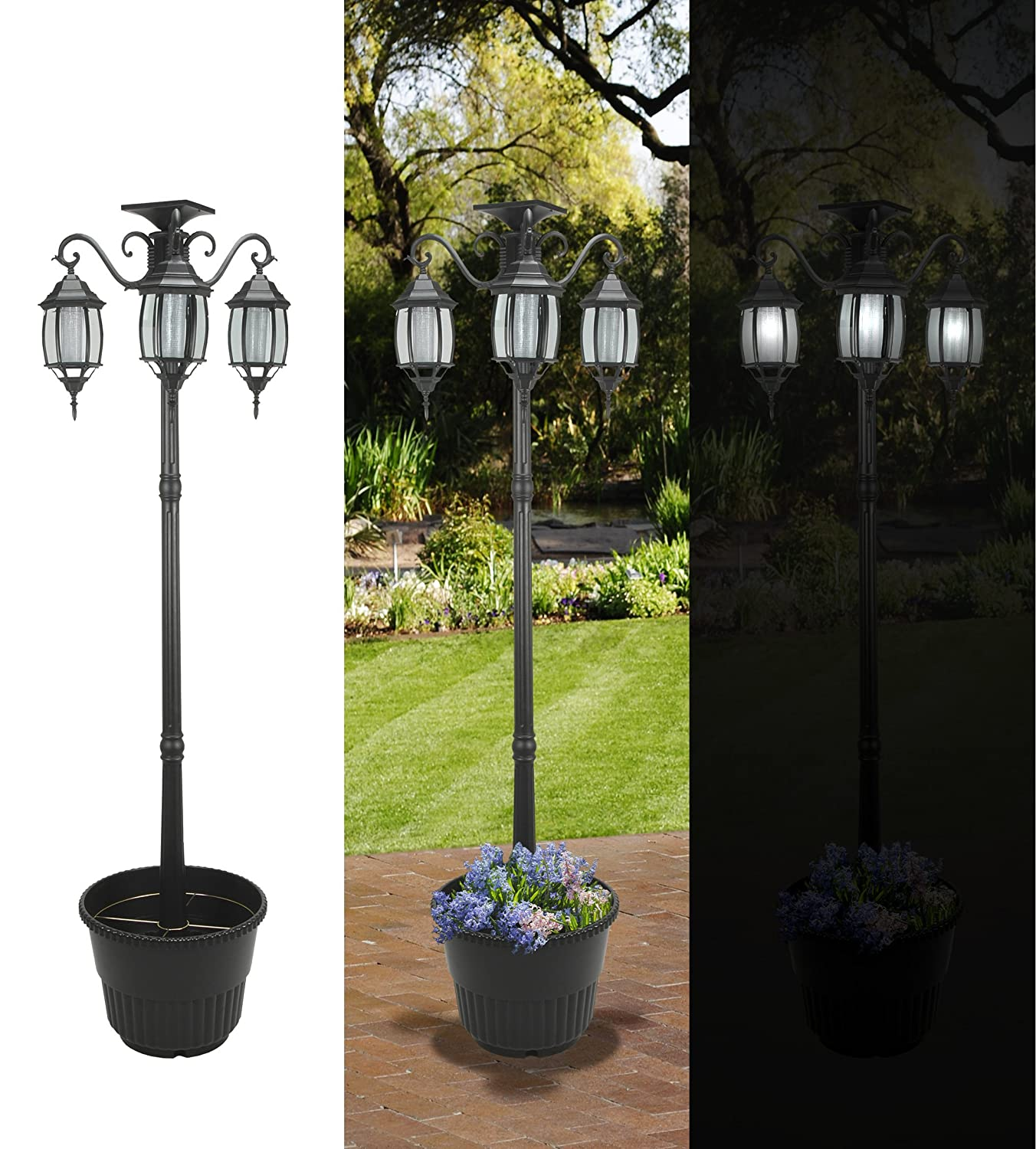 Amazon.com : SUNergy 50408190 Madison Solar Lamp Post And Planter With 3 Solar  Lighting Lamps (Discontinued By Manufacturer) : Landscape Torch Lights ...