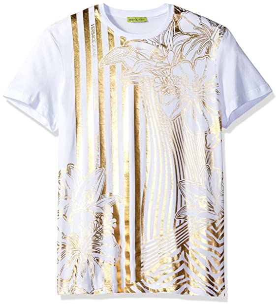 ba2bfd749839 Versace Jeans Men s Gold Print T-Shirt, Bianco, Small  Amazon.in ...