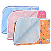 Dreambaby Soft Plastic and Cotton Waterproof Nappy Changing Mat Bedding, 0-6 Months (Multicolour) - Set of 3