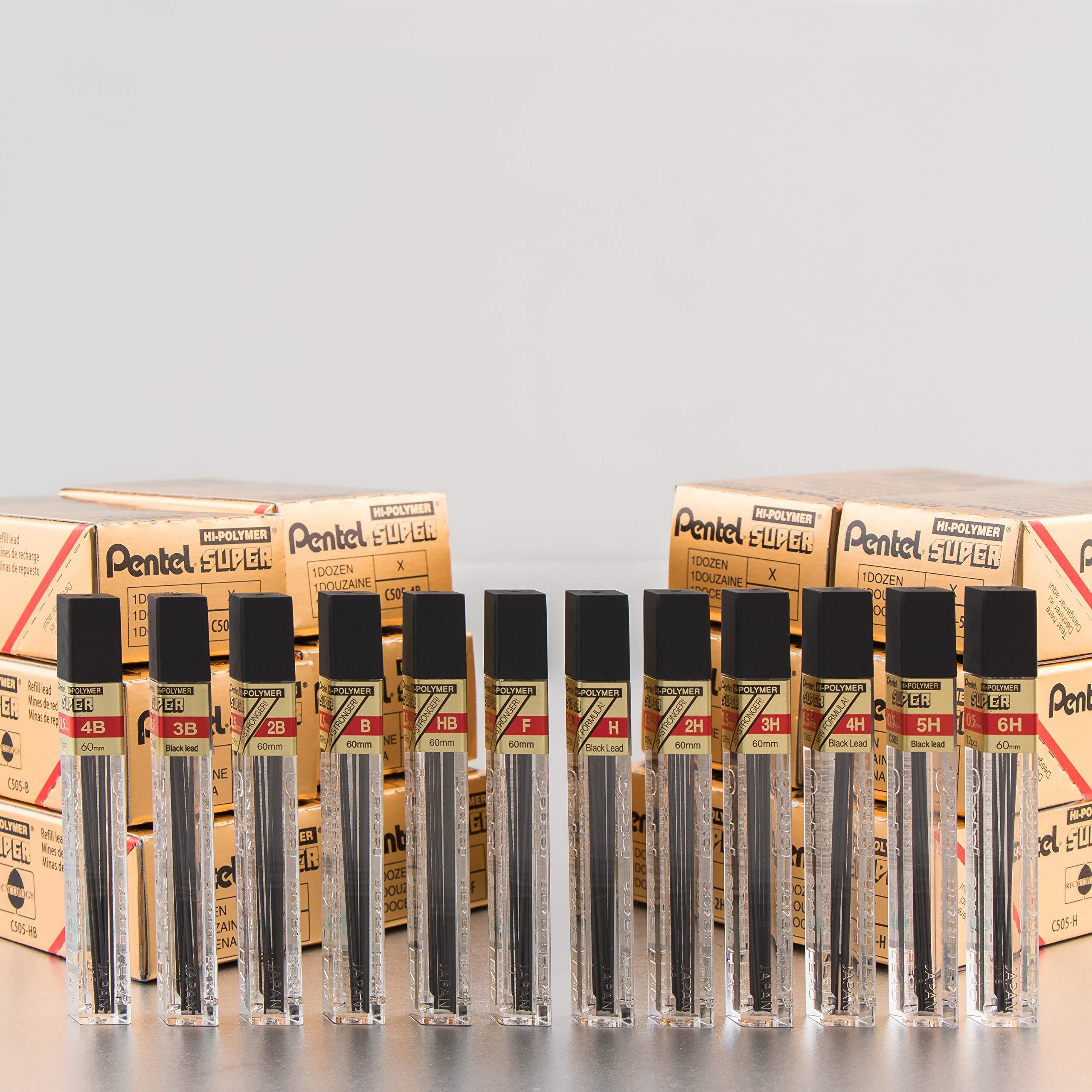 Pentel Super Hi-Polymer Lead Refill, 0.5mm, Fine, 2B, 144 Pieces of Lead (C505-2B) by Pentel (Image #5)