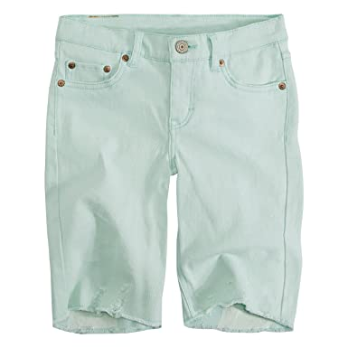 1b508909 Levi's Girls' Toddler Denim Bermuda Shorts, Fair Aqua, 2T