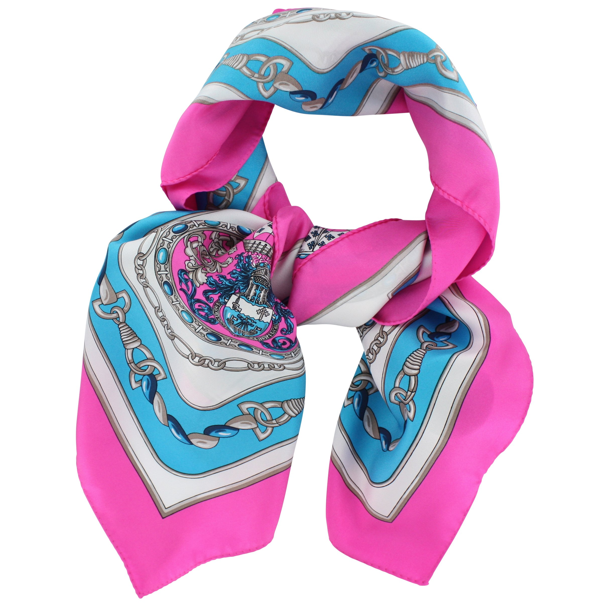 Silk Scarf, French elegant design ''Nautical'', Square, 35'' X 35'' - 100% Silk Twill, Turquoise and pink