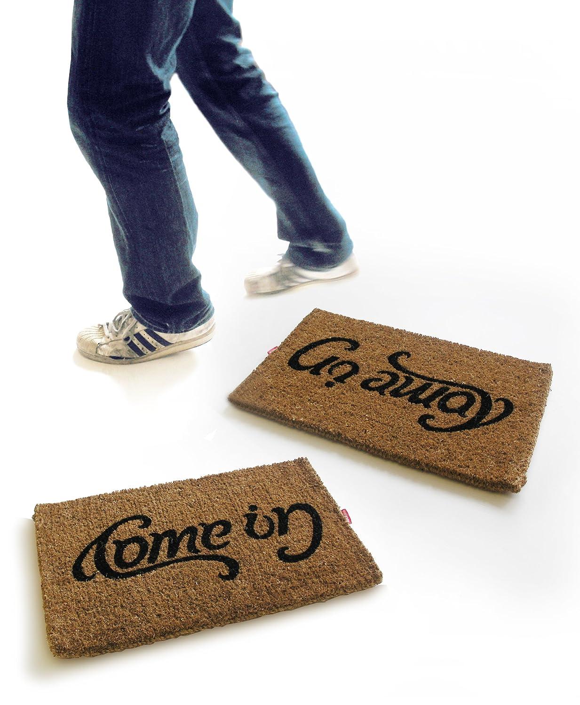 Amazon.com : Come In / Go Away Ambigram Doormat : Welcome Mat Goodbye :  Garden U0026 Outdoor