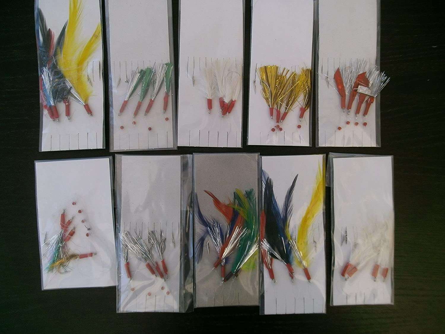 10 x ASSORTED MACKEREL FEATHER / GLITTER RIGS