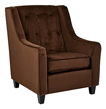 Ave Six Curves Tufted Back Armchair With Espresso Finish Solid Wood Legs Chocolate Velvet Fabric