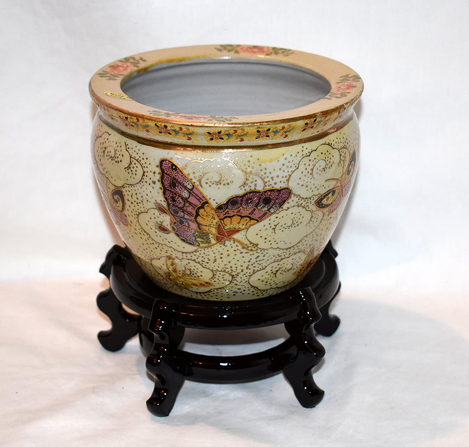 """New 6"""" Oriental Colorful Butterflies Butterfly Fish Bowl Jardiniere Planter Plant Pot Satsuma Style with Wooden Stand"""