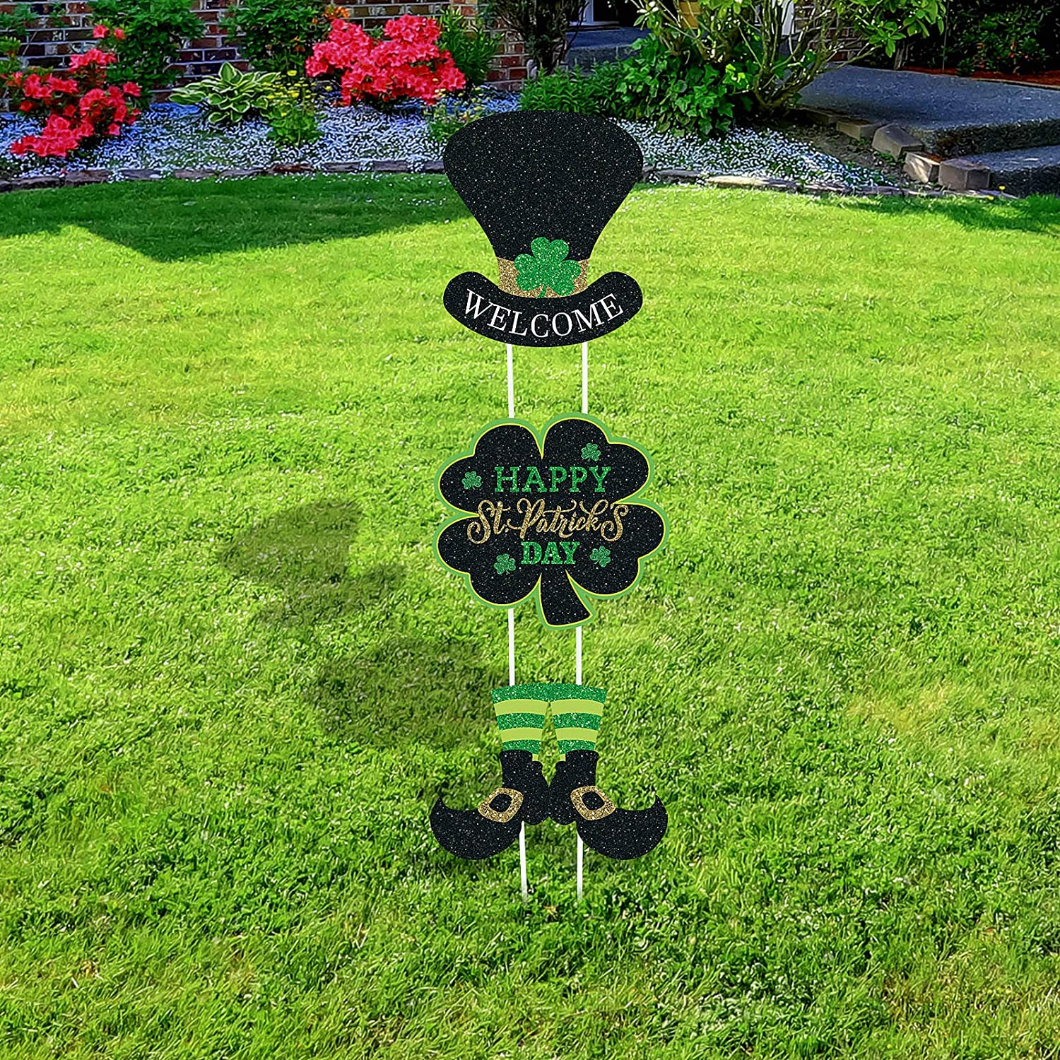 3 Pieces St St Patricks Day Yard Signs with Stakes Patricks Day Clover Signs Outdoor Lawn Decorations Irish Leprechaun Horseshoe Shamrock with Happy St Patricks Day Sign with Stakes