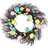 "Glittery Easter Egg Twig Wreath - 16"""