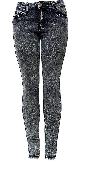 66d3c8472dc7 GESO Yes Me Premium Soft Stretch Black Acid Wash Denim Jeans Skinny Leg Pants  at Amazon Women's Jeans store