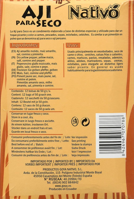 Nativo Ají Para Seco - Paquete de 12 x 50 gr - Total: 600 gr - 3 Paquetes de 12 x 50 gr - Total: 1800 gr: Amazon.es: Alimentación y bebidas