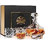 KANARS WD09 Jarra de Whisky, 5 Piezas, 100% Libre de Plomo Cristalino Resistente Botella de Whisky Set para Scotch…