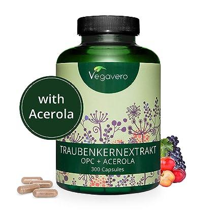 OPC Puro Extracto de Semilla de Uva Francesa + Vitamina C de Acerola Vegavero® | LA DOSIS MÁS ALTA | Potentes Antioxidantes + Salud Cardiovascular | ...