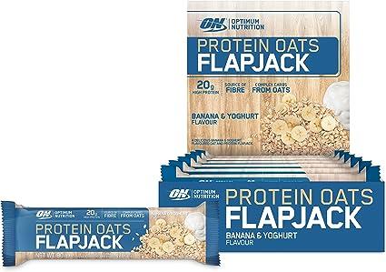 Optimum Nutrition Barra de proteína Oats Flapjack con Sabor de Plátano y Yogur - 12 unidades