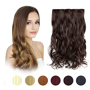 Feshfen 20 One Piece 3 4 Full Head Clip In Hair Extensions Long Curly Wave Synthetic Hair