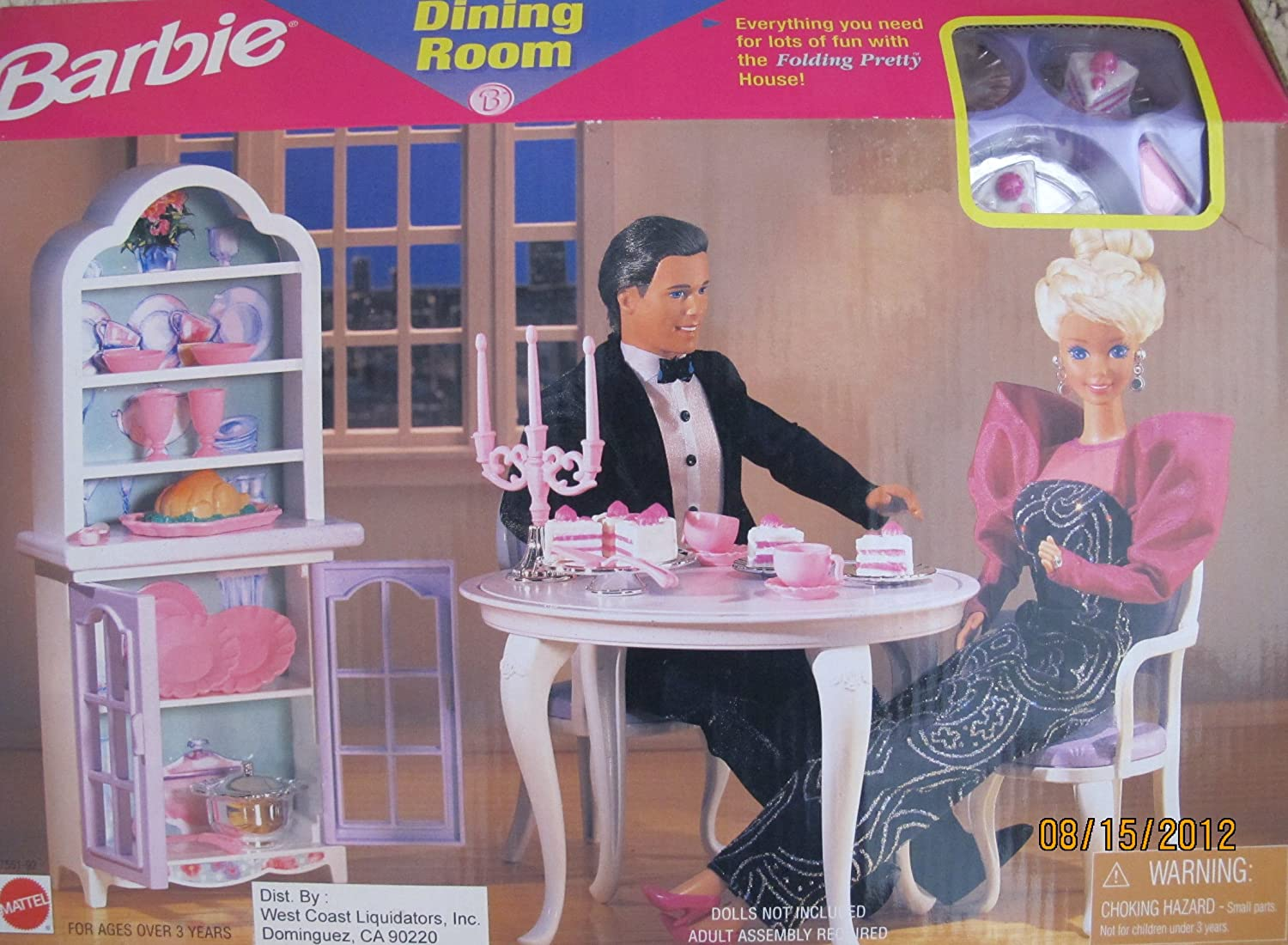 BARBIE DINING ROOM PLAYSET Can Be Used w FOLDING PRETTY HOUSE (1997 Arcotoys, Mattel)