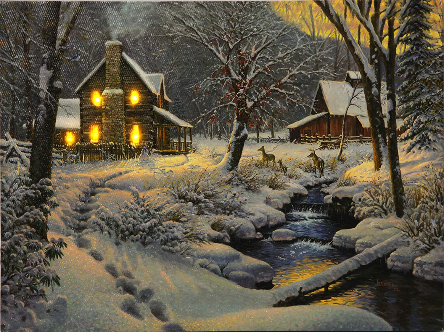 Rivers Edge Products 16 x 12 LED Wall Art Snowy Cabin River' s Edge Products 1768