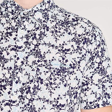 Pierre Cardin - Camisa de lino estampada de manga corta para hombre