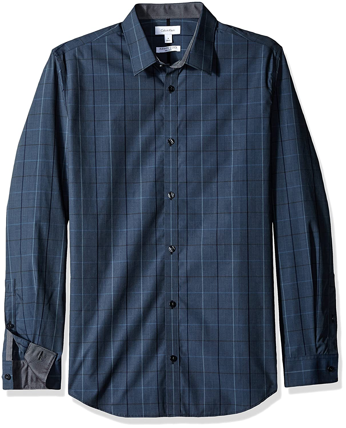 Calvin Klein Men's Window Plaid Infinite Cool Long Sleeve Button Down Shirt Black 401W118