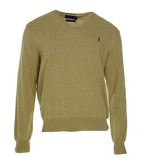 f2c79df744a5b5 Polo Ralph Lauren Men's Pima Cotton Classic V-Neck Sweater, Camel, XXL at Amazon  Men's Clothing store: