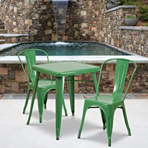 "Flash Furniture Commercial Grade 23.75"" Square Green Metal Indoor-Outdoor Table Set with 2 Stack Chairs"