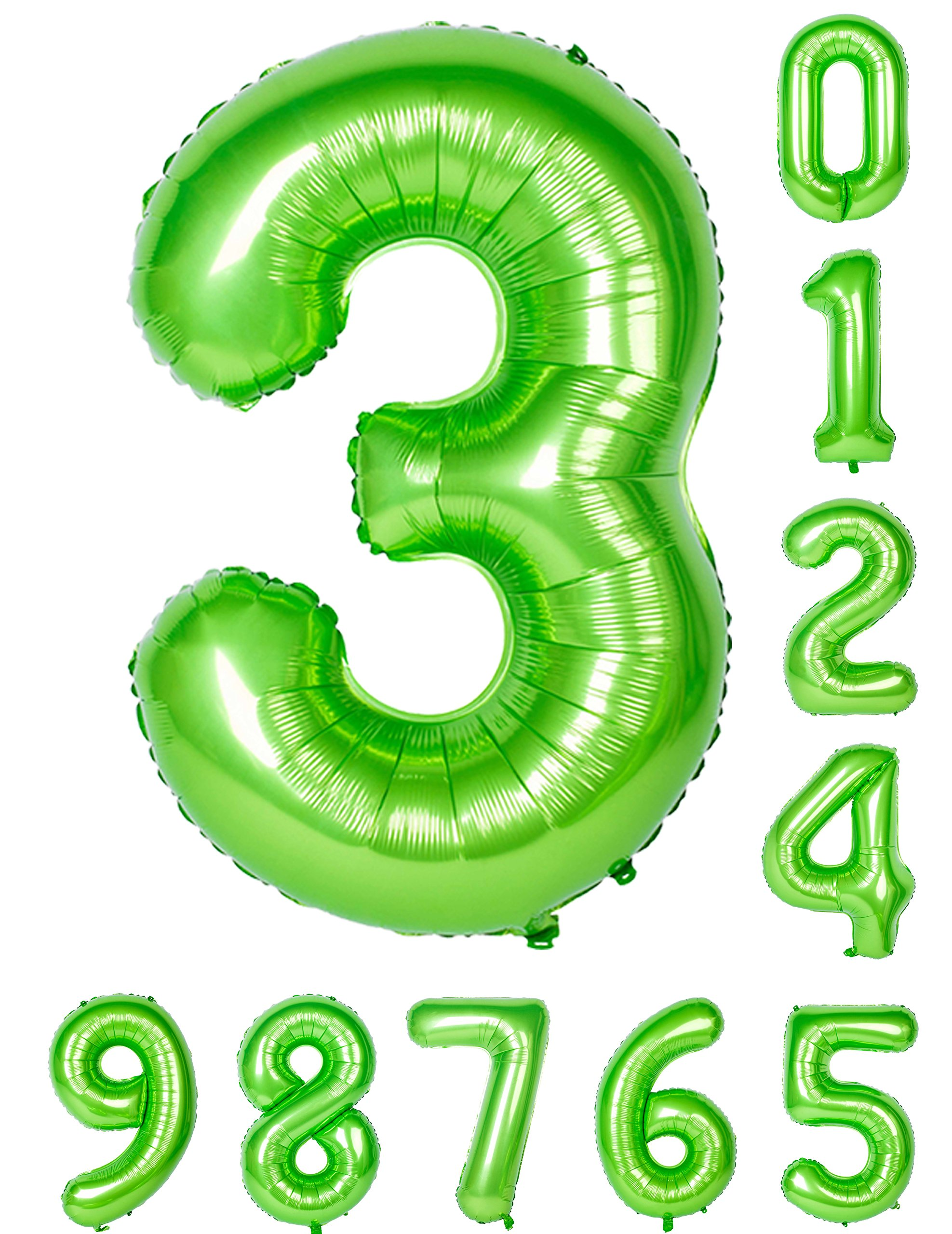 Green Numbers Balloon Birthday Party 40 Inch 0 9Zero Nine Mylar