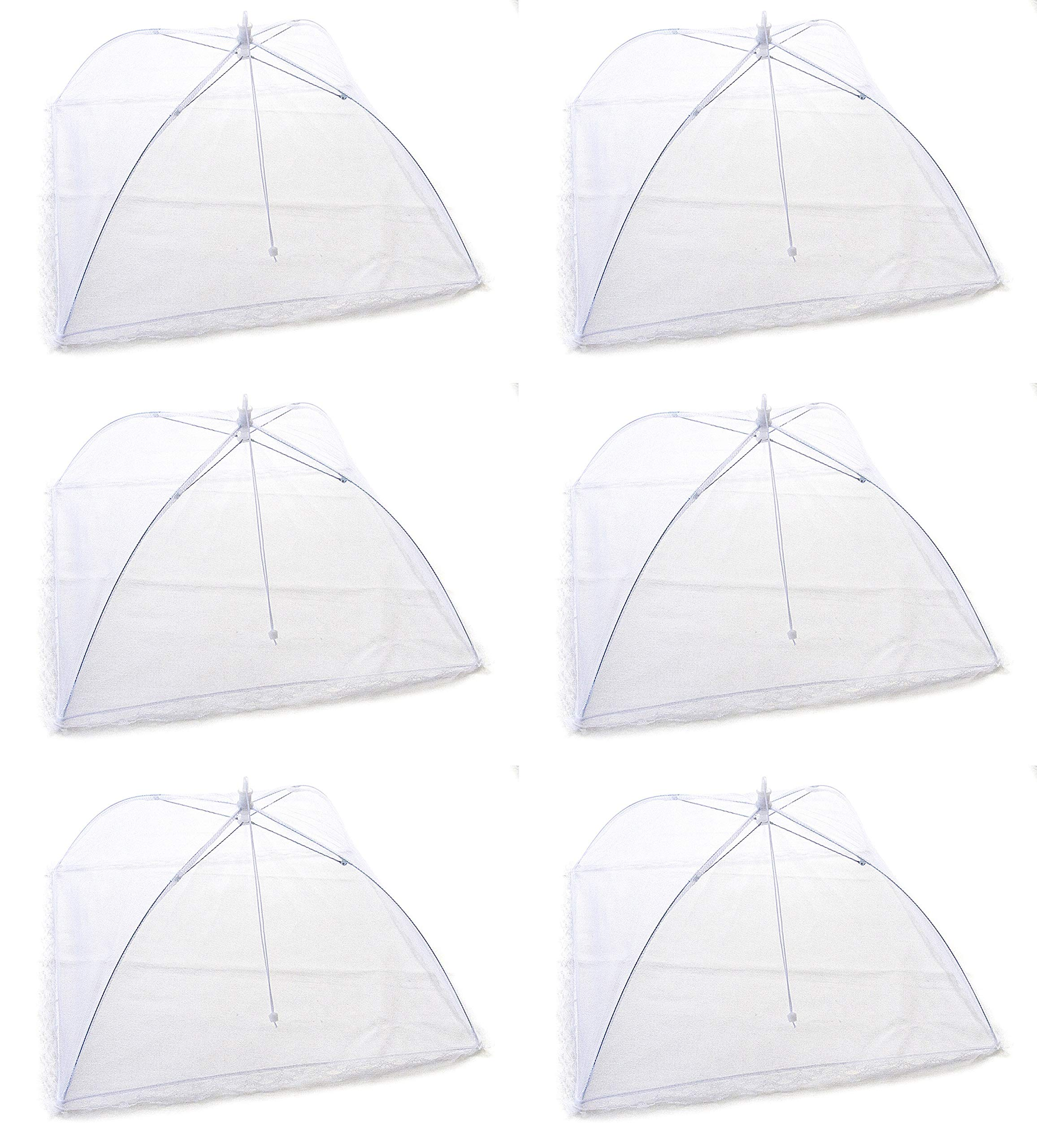 Six Pack of Large Collapsible Reusable Mesh Screen Food Tent Pop-up Umbrella Covers for Picnics, BBQ, Indoor and Outdoor Parties. Keep Flies, Mosquitoes, Bugs Away From Your Food.