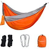 Parachute Nylon Hammock with Ropes & Carabiners - Military-Grade Outdoor Camping Equipment - Portable, Lightweight and Weather resistant - Great for Traveling, Backpacking, Park, Backyard