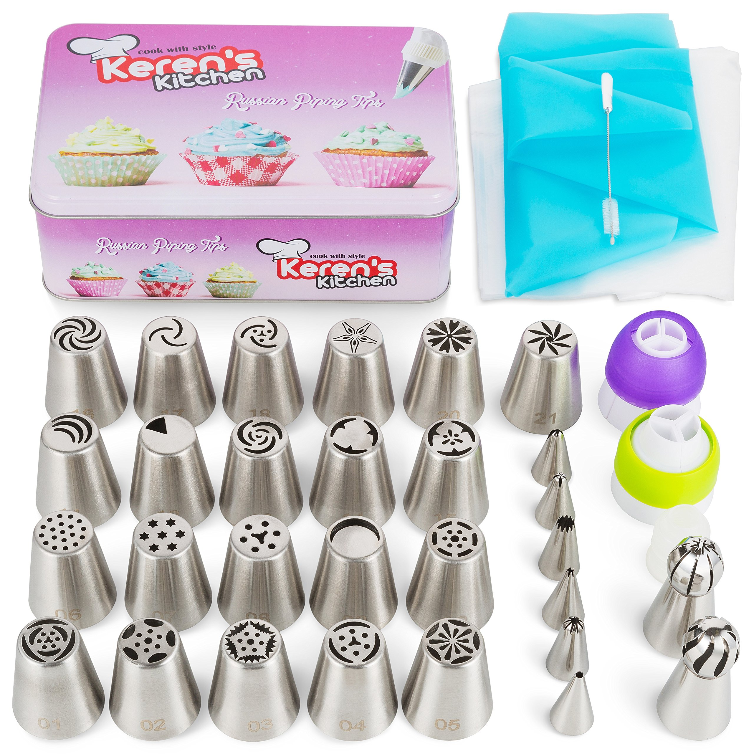 Russian Piping Tips Set 57 pcs Russian Flower Tips Cake. Include 21 Russian Cake Tips, Russian Ball Frosting Tips, Icing Tips Nozzles, Couplers. Best Cake Decorating Tips