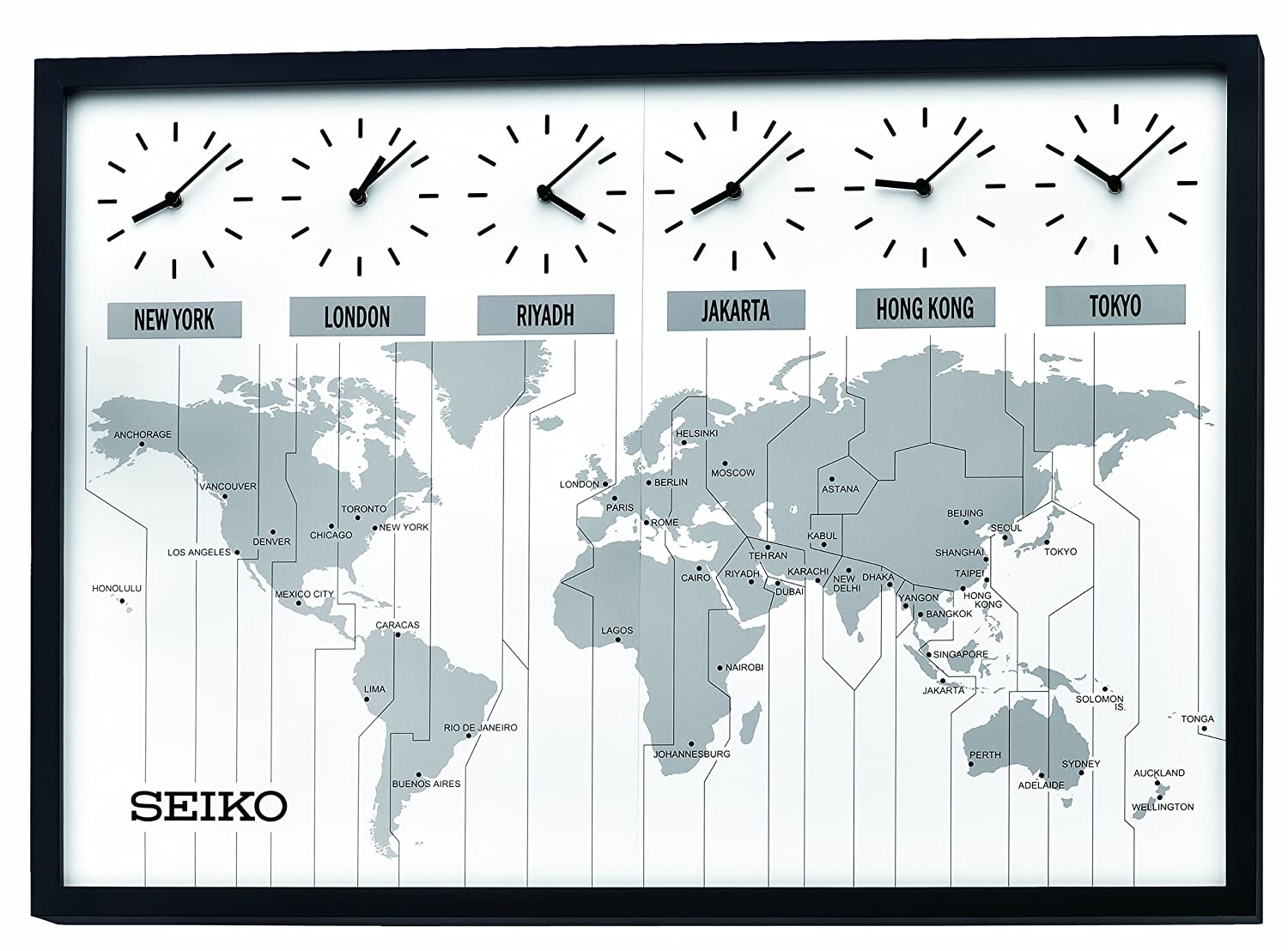Amazon.com: Seiko QXA538KLH Classic Six City World Time Wall Clock ...