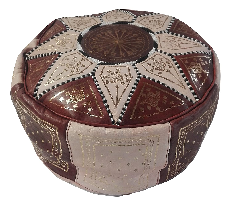 Puf marroquí puf Marruecos de Piel auténtica Oriental étnico Colcha reposapiés B5 Artigianato Marocco