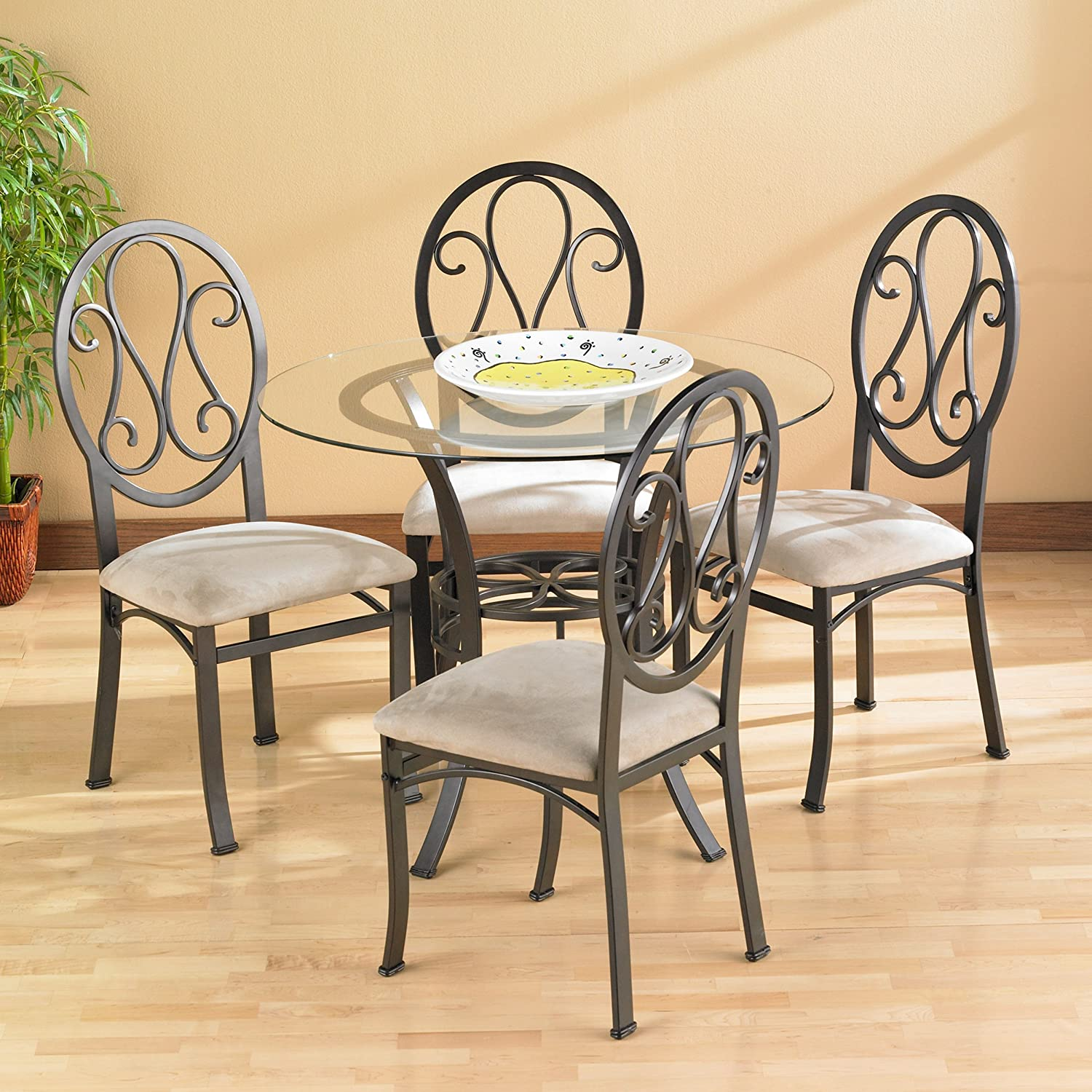 Chic Finish Glass Top w// Brown Metal Frame Lucianna Round Dining Table