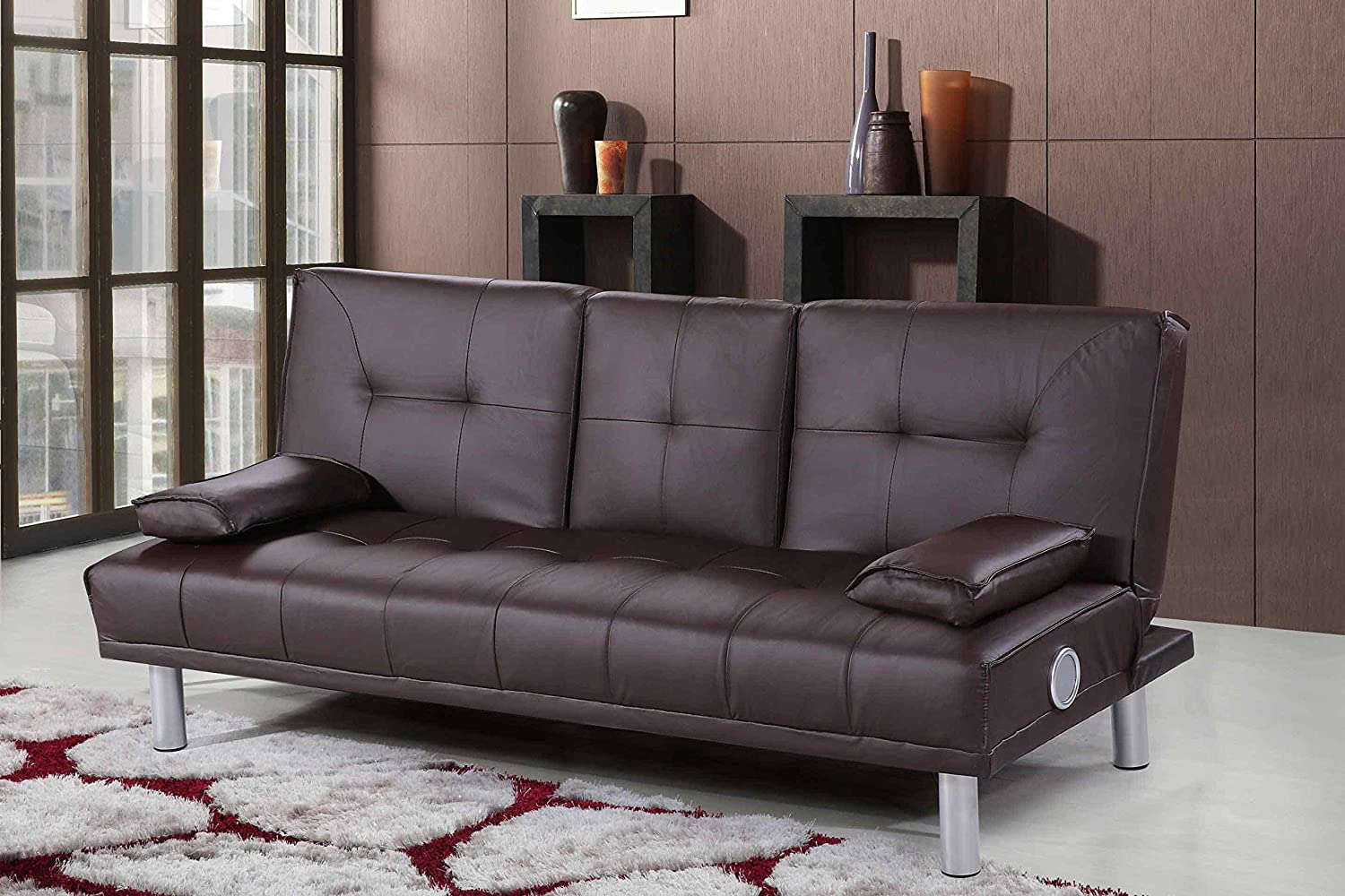 Pleasant New Manhattan Modern Sleep Design Faux Leather Sofa Bed With Bluetooth Stereo Speakers Available In Brown Bralicious Painted Fabric Chair Ideas Braliciousco