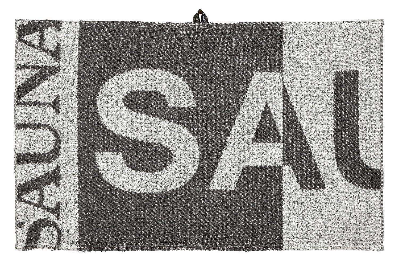 Sauna 0253-075-150-155-eko Badetuch, Leinen   Baumwolle, 150 x 75 x 1 cm, Grau   Weiß
