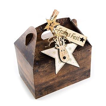 Weihnachtsgebäck Verpacken.16 Stück Verpackung Weihnachtsgeschenke 18 5 X 12 5 X 12 Cm Weihnachten Schachtel Holz Optik Braun Stern Gold Dekoklammer Geschenke Für Kunden